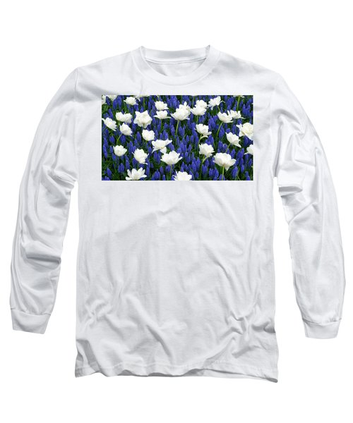 White On Blue Long Sleeve T-Shirt