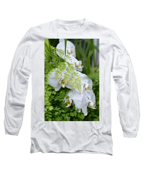 White Orchids Long Sleeve T-Shirt by Ronda Broatch