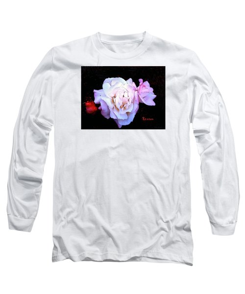 Long Sleeve T-Shirt featuring the photograph White - Pink Roses by Sadie Reneau