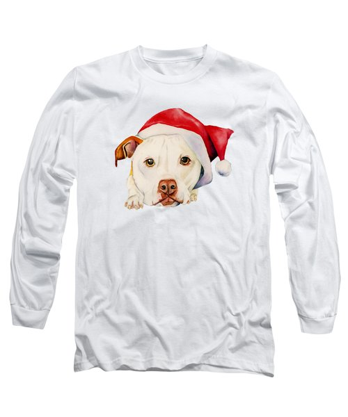 White Pit Bull Terrier Dog With Santa Hat Portrait Long Sleeve T-Shirt