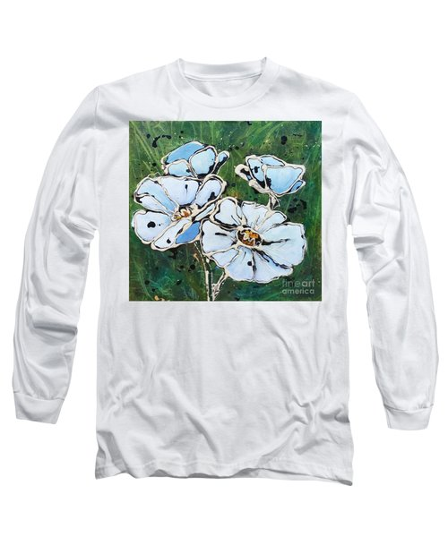 White Poppies Long Sleeve T-Shirt by Phyllis Howard