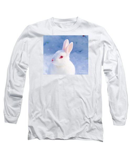 White Rabbit In Snow Long Sleeve T-Shirt