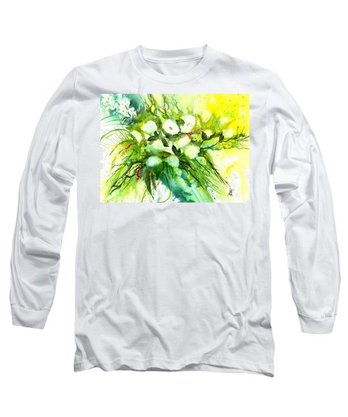 White Roses And Delphinium Long Sleeve T-Shirt