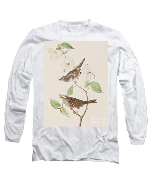 White Throated Sparrow Long Sleeve T-Shirt by John James Audubon
