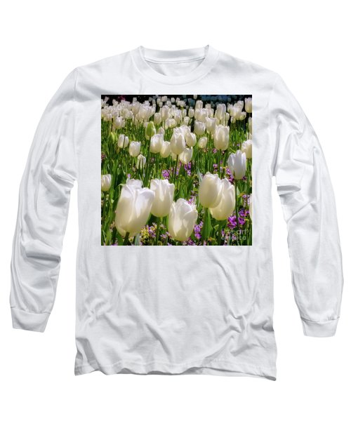White Tulips In Bloom Long Sleeve T-Shirt