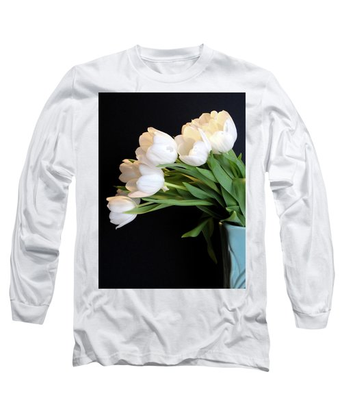 White Tulips In Blue Vase Long Sleeve T-Shirt by Julia Wilcox