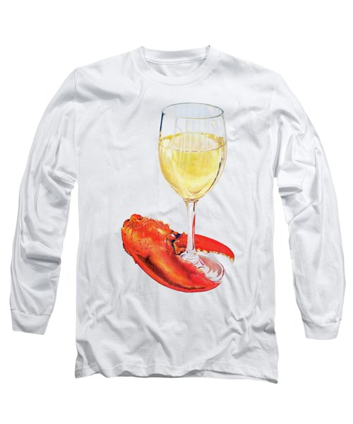 White Wine And Lobster Claw Long Sleeve T-Shirt