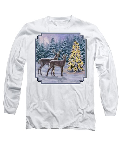 Whitetail Christmas Long Sleeve T-Shirt by Crista Forest