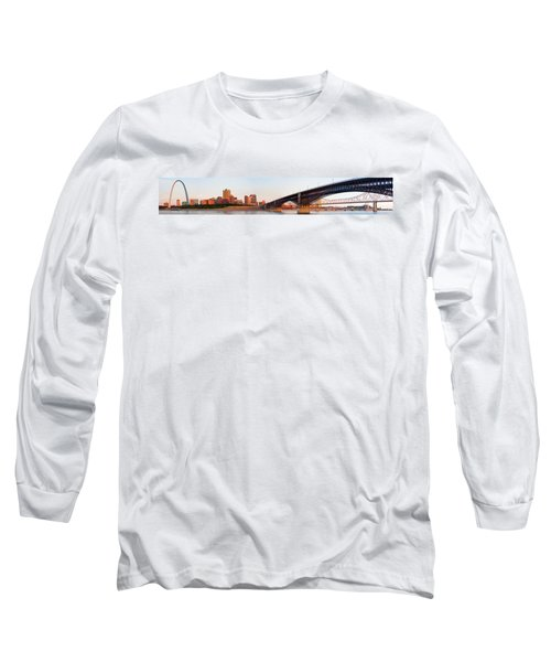 Wide View Of St Louis And Eads Bridge Long Sleeve T-Shirt by Semmick Photo