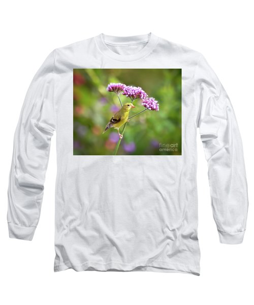 Long Sleeve T-Shirt featuring the photograph Wild Birds - Female Goldfinch by Kerri Farley