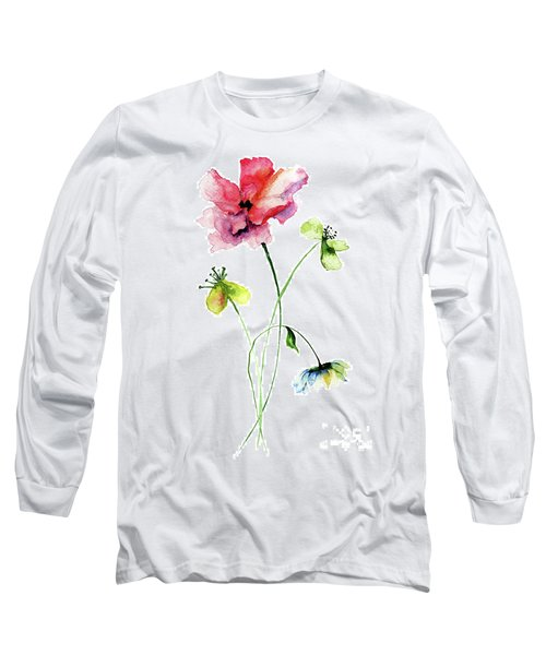 Wild Flowers Watercolor Illustration Long Sleeve T-Shirt