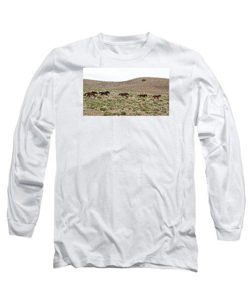 Wild Mustang Herd Running Long Sleeve T-Shirt