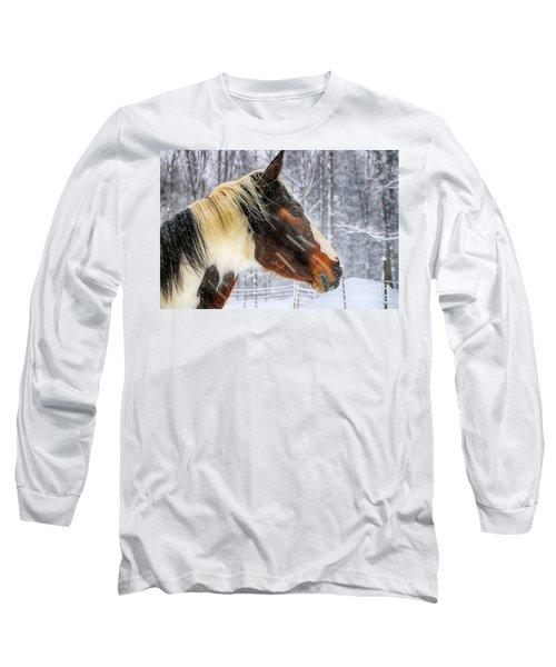 Wild Winter Storm Long Sleeve T-Shirt by Elizabeth Dow