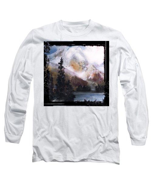 Wilderness Mountain Landscape Long Sleeve T-Shirt by Michele Carter