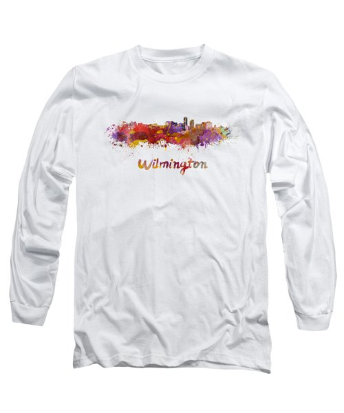 Wilmington Skyline In Watercolor Long Sleeve T-Shirt