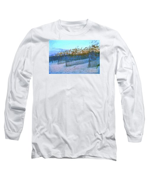 Wind Fence On Beach Long Sleeve T-Shirt by Linda Olsen