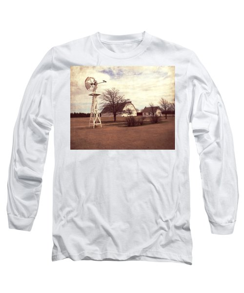 Windmill At Cooper Barn Long Sleeve T-Shirt by Julie Hamilton