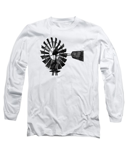 Windmill In Black And White Long Sleeve T-Shirt by Hailey E Herrera