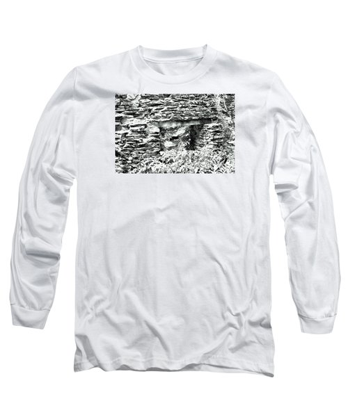 Window View Of Sope Creek In Black And White Long Sleeve T-Shirt by James Potts