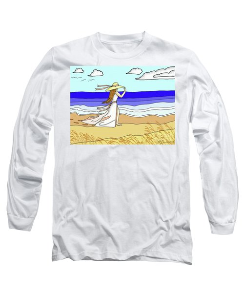 Windy Day At The Beach Long Sleeve T-Shirt by Patricia L Davidson
