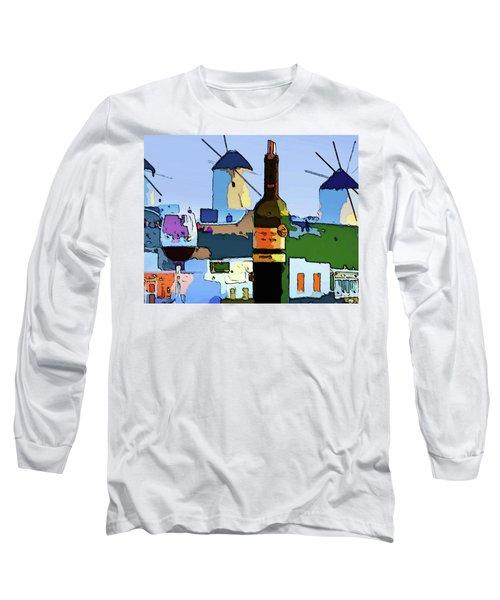 Wine In Mykonos Long Sleeve T-Shirt