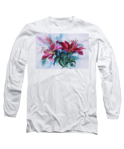 Wine Lillies In Pastel Watercolour Long Sleeve T-Shirt