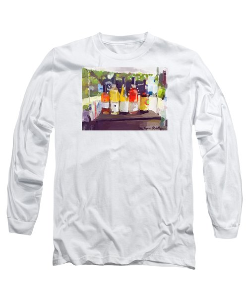 Wine Tasting Tent At Rockport Farmers Market Long Sleeve T-Shirt by Melissa Abbott