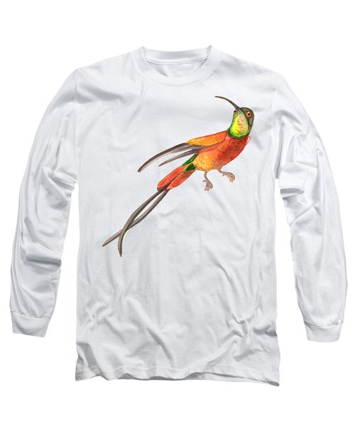 Winged Jewel 6, Watercolor Tropical Rainforest Hummingbird Red, Yellow, Orange And Green Long Sleeve T-Shirt