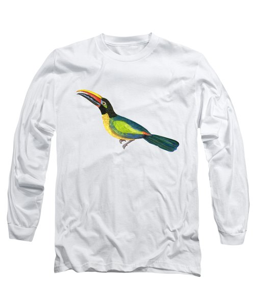 Winged Jewels 2, Watercolor Toucan Rainforest Birds Long Sleeve T-Shirt