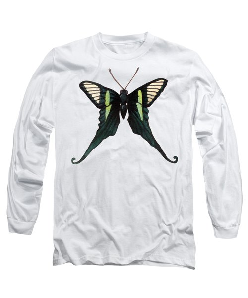 Winged Jewels 3, Watercolor Tropical Butterfly With Curled Wing Tips Long Sleeve T-Shirt