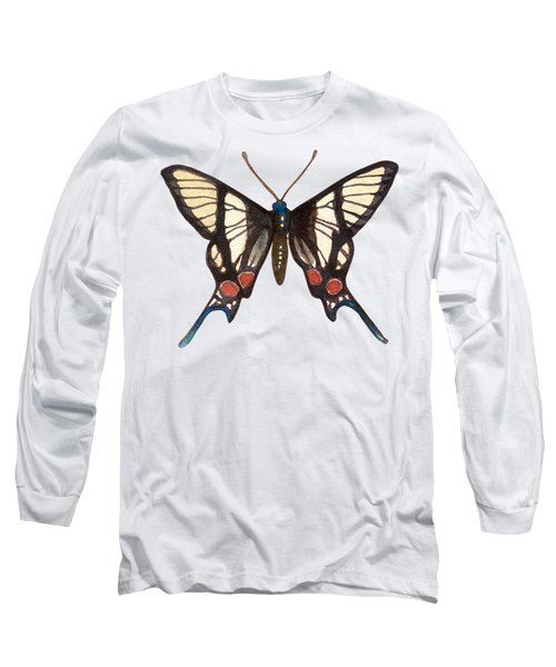 Long Sleeve T-Shirt featuring the painting Winged Jewels 4, Watercolor Tropical Butterflie Black White Red Spots by Audrey Jeanne Roberts