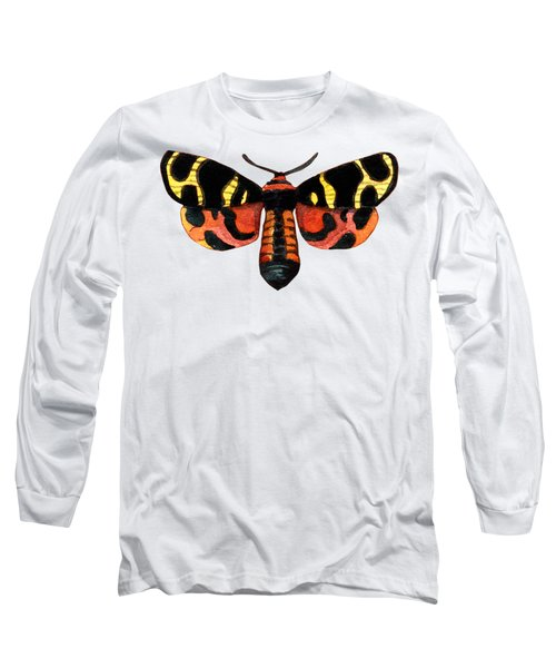 Long Sleeve T-Shirt featuring the painting Winged Jewels 5, Watercolor Moth Black Yellow Orange And Red Tropical by Audrey Jeanne Roberts