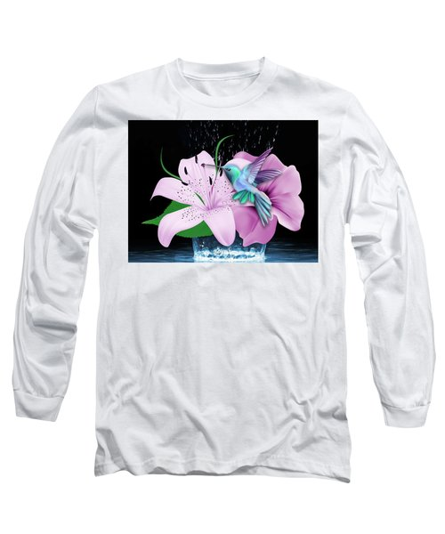 Long Sleeve T-Shirt featuring the mixed media Winging It Hummingbird by Marvin Blaine