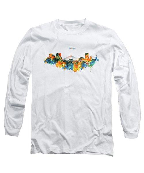 Winnipeg Skyline Long Sleeve T-Shirt by Marian Voicu