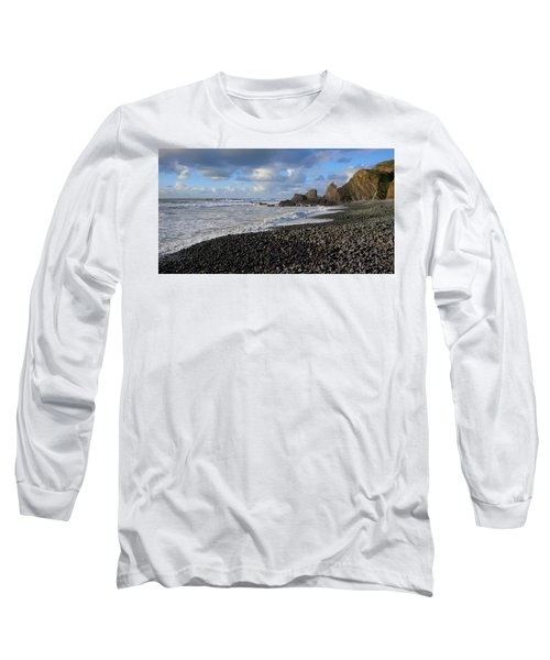 Winter At Sandymouth Long Sleeve T-Shirt by Richard Brookes