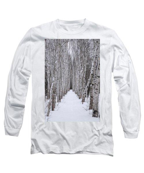 Winter Birch Path Long Sleeve T-Shirt