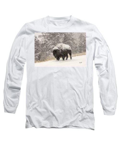 Long Sleeve T-Shirt featuring the digital art Winter Bison by Walter Chamberlain