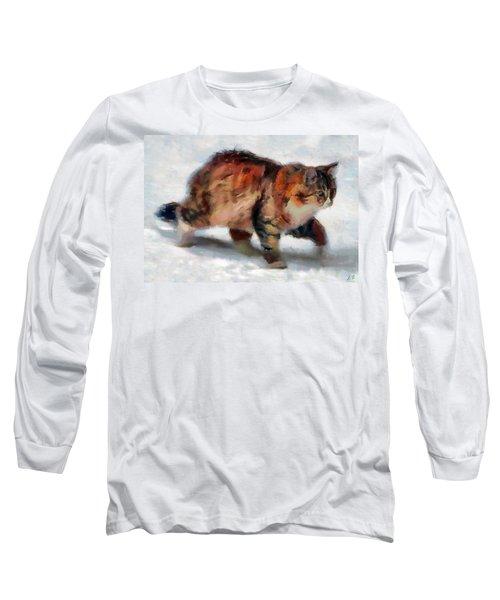 Winter Cat Long Sleeve T-Shirt by Sergey Lukashin