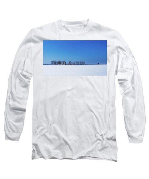 Winter Farm Blue Sky Long Sleeve T-Shirt