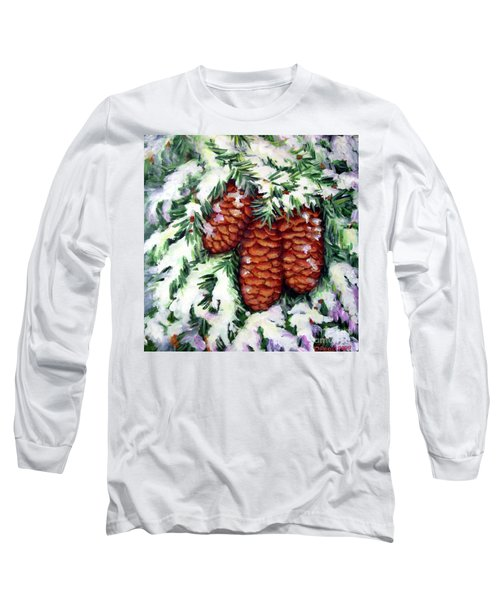 Long Sleeve T-Shirt featuring the painting Winter Fir Cones by Inese Poga