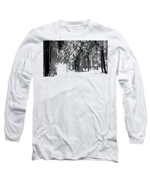 Winter Forest Bw - Cross Hatching Long Sleeve T-Shirt