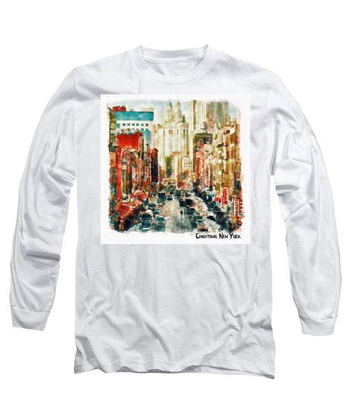 Winter In Chinatown - New York Long Sleeve T-Shirt