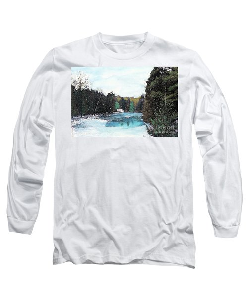 Long Sleeve T-Shirt featuring the mixed media Winter In Kalkaska by Desiree Paquette