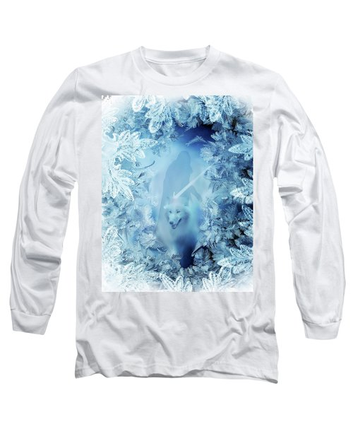 Winter Is Here - Jon Snow And Ghost - Game Of Thrones Long Sleeve T-Shirt by Lilia D