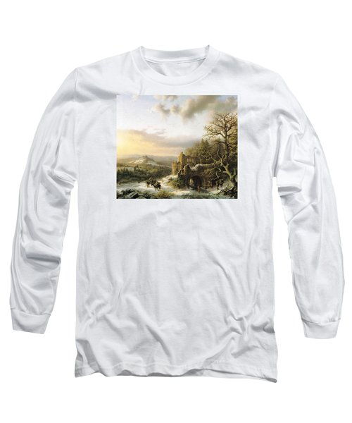 Winter Landscape With Peasants Gathering Wood Long Sleeve T-Shirt