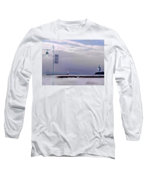 Winter Lights To Rock Point Digital Painting Of Evening Sentries At The Coast Guard Station Long Sleeve T-Shirt