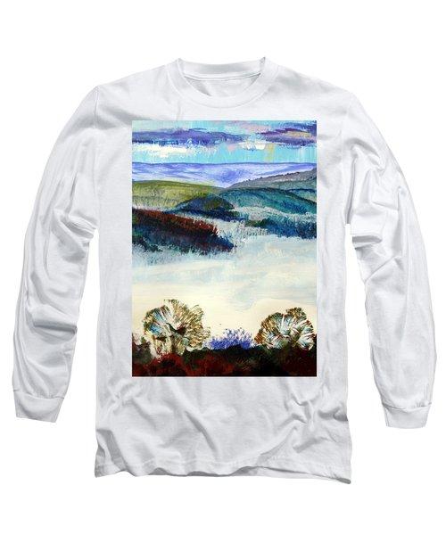 Winter Misty Morning In Devon Long Sleeve T-Shirt