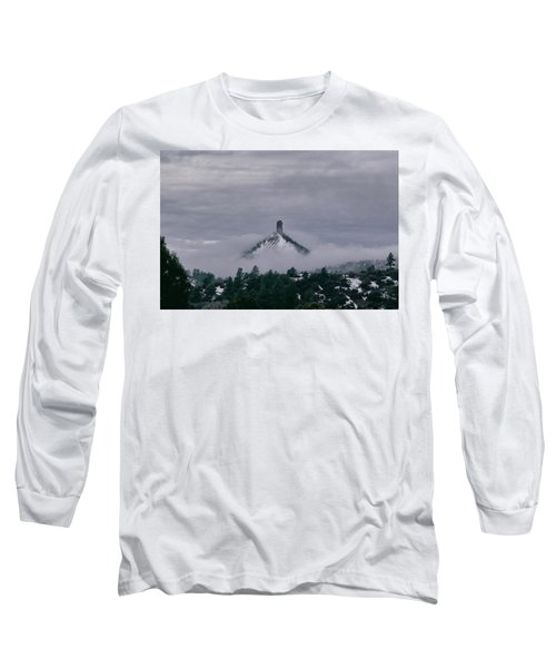 Winter Morning Fog Envelops Chimney Rock Long Sleeve T-Shirt