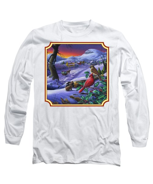 Winter Mountain Landscape - Cardinals On Holly Bush - Small Town - Sleigh Ride - Square Format Long Sleeve T-Shirt