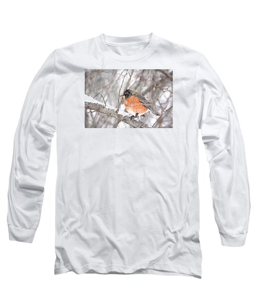 Long Sleeve T-Shirt featuring the photograph Winter Robin by Trina Ansel